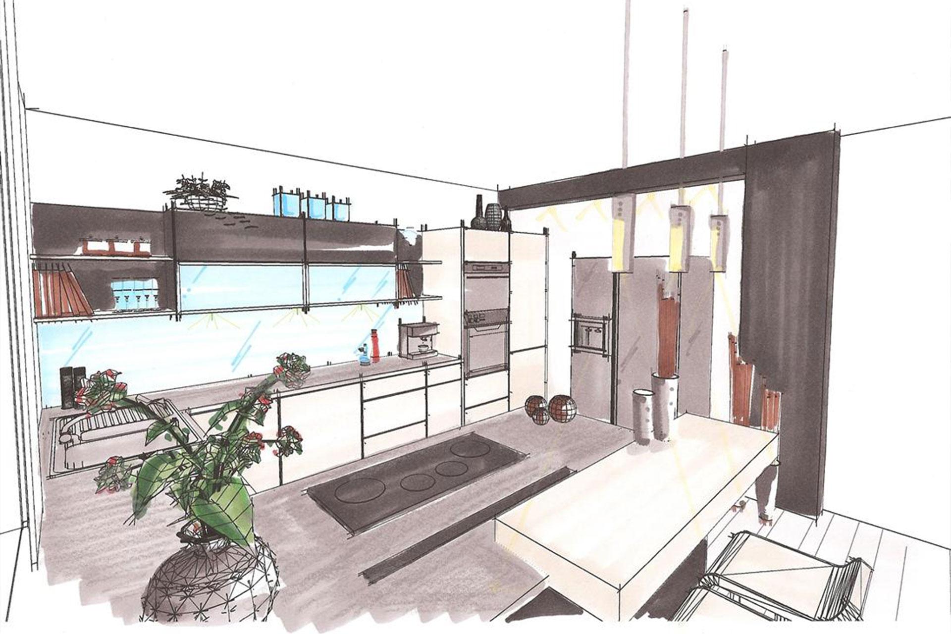 Innenarchitektur skizze küche  Innenarchitektur | Tischlerei Berger